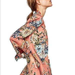NWT Zara Pink Floral Blazer Jacket Size Small